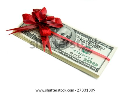 Money tied red ribbon isolated on white