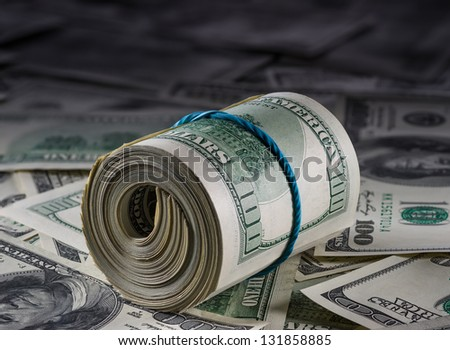 money to American dollars - stock photo