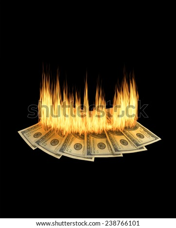 Money to burn concept of having too much money - stock photo