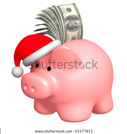 Money to Christmas. Object over white - stock photo