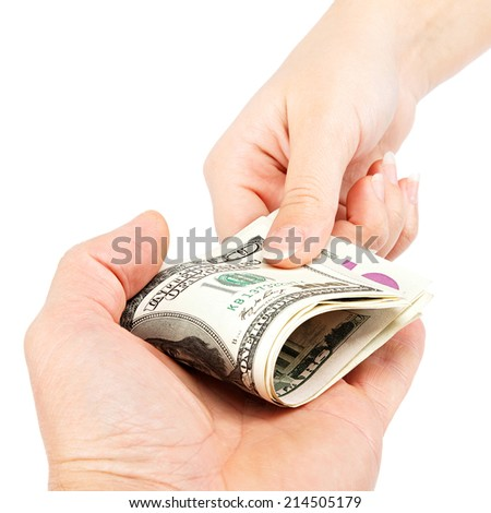 Money transfer hands isolated on white background. - stock photo