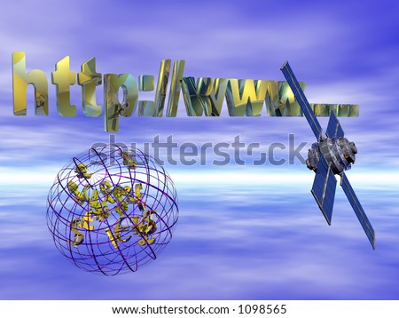 Money transfers over the net, satellite connections worldwide.  Communication  illustration concept - stock photo