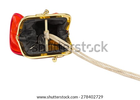 Money trap made of purse isolated on white background - stock photo