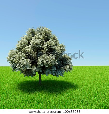 Money tree growing in the middle of green meadow. - stock photo