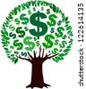 Money tree isolated on White background. illustration - stock vector