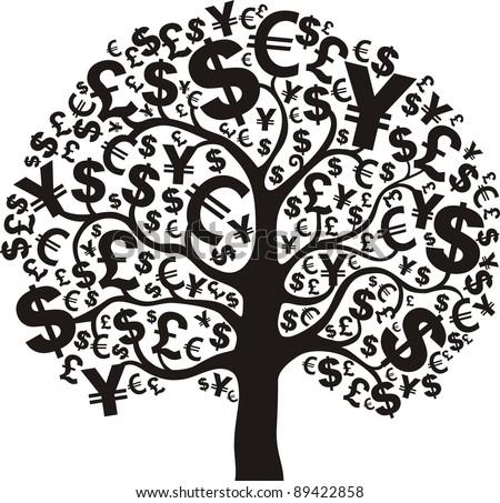 money tree isolated on White background. r illustration - stock photo