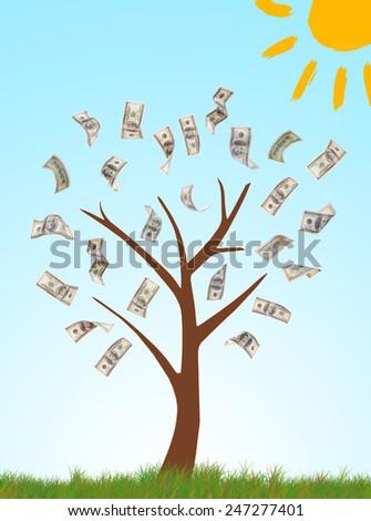 Money tree on drawn natural background - stock photo