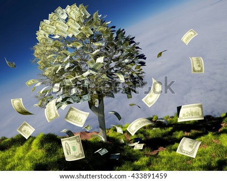 Money tree on grass with daisies.3D render - stock photo