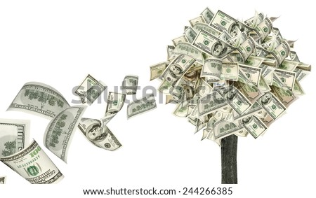 Money tree on white background with flying dollars