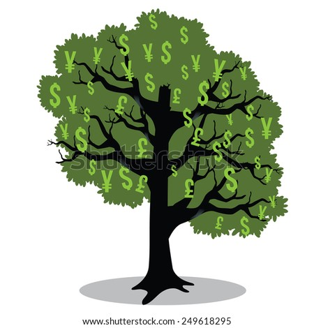 Money tree stock illustration - stock photo