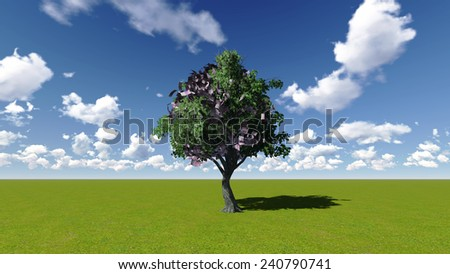 Money Tree with Euro bank notes in place of leaves - stock photo