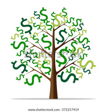 Money tree with green dollar signs isolated on white background. Flat style. Wealth, success, profit, finance, business concept