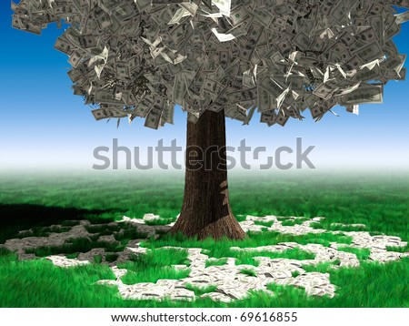 Money tree with hundred dollar bills growing on it and lying on green grass under it. Investment concept - stock photo