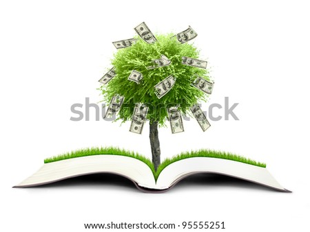 Money treebook grow from book nature on sky background - stock photo