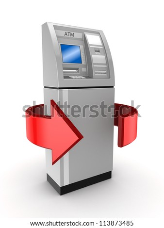 Money turnover concept.Isolated on white background.3d rendered. - stock photo