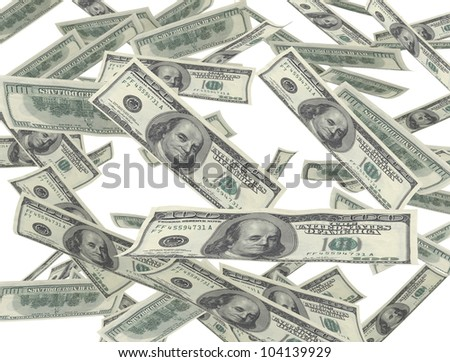 money us dollar bills isolated on white - stock photo