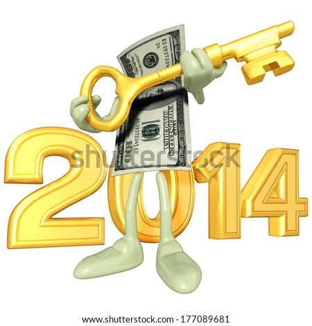 Money With Gold Key - stock photo