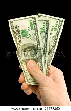 money with hand isolated on black