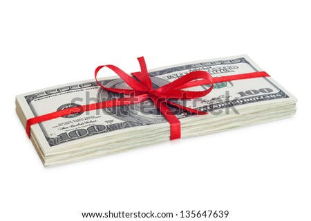 Money with red ribbon - stock photo