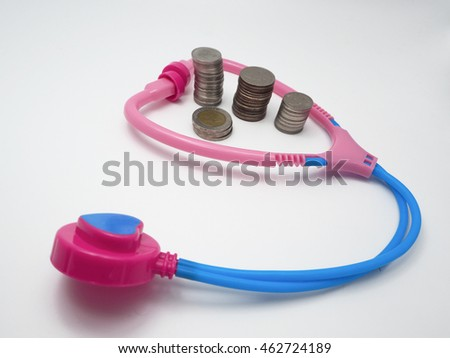 Money with stethoscope, isolated