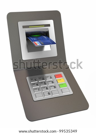 Money withdrawal. ATM and credit or debit card. 3d - stock photo