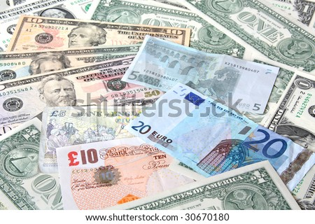 Money. World currencies: U.S. dollars, euros. Banknotes - stock photo