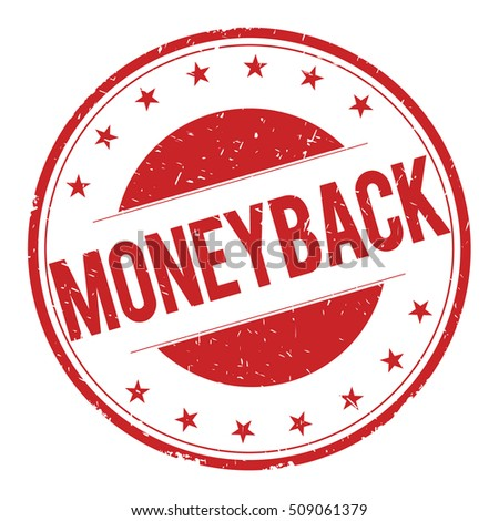 MONEYBACK stamp sign text word logo red.