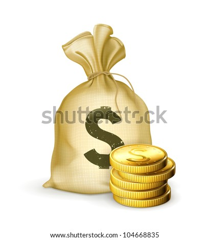 Moneybag and coins, bitmap copy - stock photo