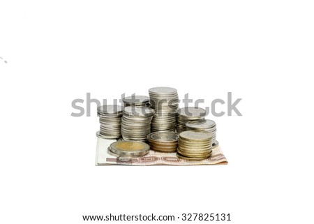Moneyed, money, bank. token-coin of thailand on white background - stock photo