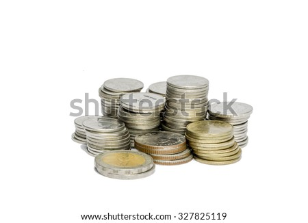 Moneyed, money, bank. token-coin on white background ( Thailand ) - stock photo
