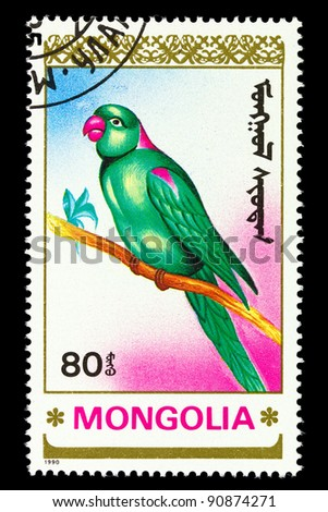MONGOLIA - CIRCA 1990: A postage stamp printed in Mongolia shows birds-parrot, series animals, circa 1990
