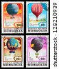 MONGOLIA - CIRCA 1982: A set of postage stamps printed in MONGOLIA shows Balloons and airships, series, circa 1982 - stock photo