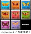 MONGOLIA - CIRCA 1974: A set of postage stamps printed in MONGOLIA shows butterflies, series, circa 1974 - stock photo