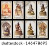 MONGOLIA - CIRCA 1988: A set of postage stamps printed in the MONGOLIA, shows statue of Buddhist deities, series, circa 1988 - stock photo