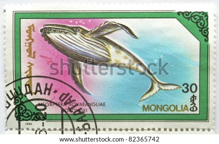 MONGOLIA - CIRCA 1990: a stamp from Mongolia shows image of a humpback whale (Megaptera novaeangliae), circa 1990