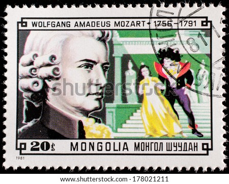 MONGOLIA - CIRCA 1981:A stamp printed by Mongolia, shows Composer Wolfgang Amadeus Mozart and Scene from his Magic Flute, circa 1981  - stock photo