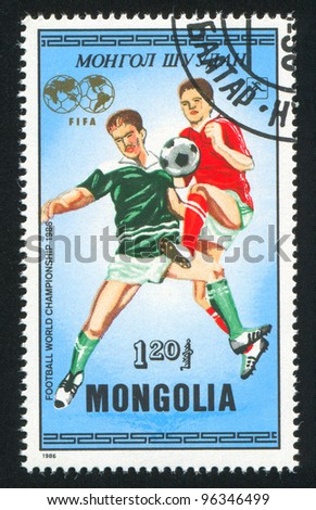 MONGOLIA - CIRCA 1986: A stamp printed by Mongolia, shows  soccer, circa 1986