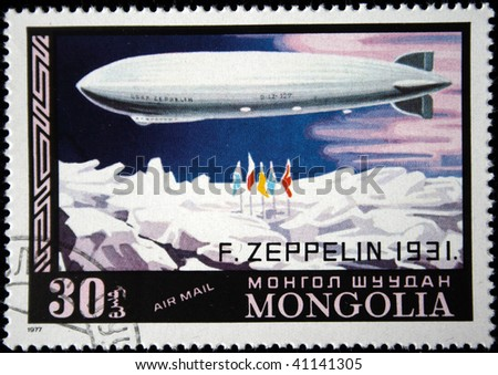 MONGOLIA- CIRCA 1977: A stamp printed in Mongolia shows Airship Zeppelin - 1931, series, circa 1977 - stock photo