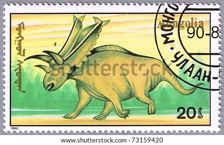 MONGOLIA - CIRCA 1990: A stamp printed in Mongolia shows Chasmosaurus, series devoted to prehistoric animals, circa 1990 - stock photo