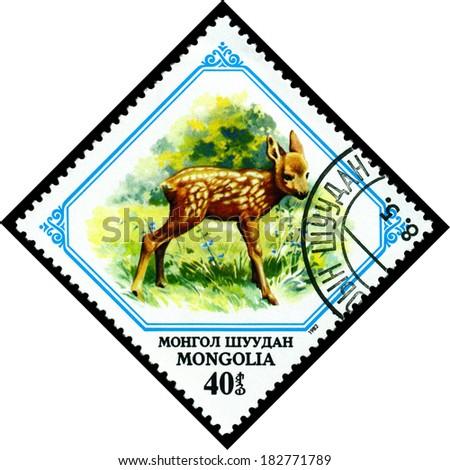 MONGOLIA - CIRCA 1982: A stamp printed in Mongolia shows  Fawn, circa 1982 - stock photo