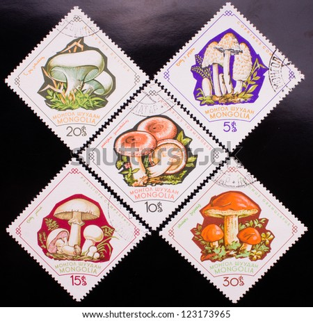 MONGOLIA - CIRCA 1964: A stamp printed in Mongolia shows five kinds of colorful forest mushrooms , circa 1964. - stock photo