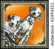 "MONGOLIA - CIRCA 1984: A Stamp printed in MONGOLIA shows image of a Dalmatians from the series ""Dogs"", circa 1984 - stock photo"