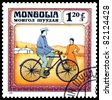 MONGOLIA - CIRCA 1982: A stamp  printed  in Mongolia shows  modern  bicycle  1866,  series  Historic  bicycle,  circa 1982 - stock photo