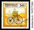 MONGOLIA - CIRCA 1982: A stamp printed in Mongolia shows old-time France bicycle 1863, series Historic bicycle, circa 1982 - stock photo