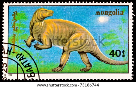 MONGOLIA - CIRCA 1990: A stamp printed in Mongolia shows Probactrosaurus, series devoted to prehistoric animals, circa 1990 - stock photo