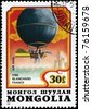 """MONGOLIA - CIRCA 1982: A Stamp printed in MONGOLIA shows the """"Blanchard"""" Balloon (France 1785), from the series """"Balloon Flight Bicentenary"""", circa 1982 - stock photo"""