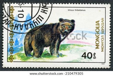 "Mongolia - CIRCA 1989: A stamp printed in Mongolia - Tibetan blue bear, ""Bears"" series - stock photo"