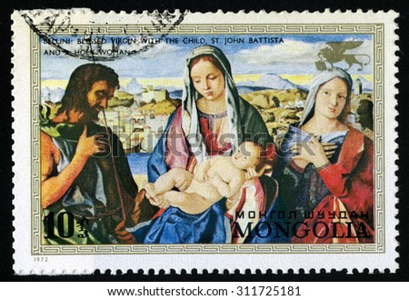 "Mongolia - CIRCA 1972 A stamp printed in the Mongolia shows a painting by the artist Bellini  ""Blessed Virgin with the child,St. John Batista and holy woman"", circa 1972. - stock photo"