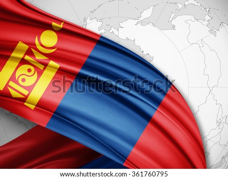 Mongolia  flag of silk with copyspace for your text or images and world background