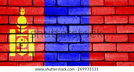 Mongolia flag painted on old brick wall texture background - stock photo